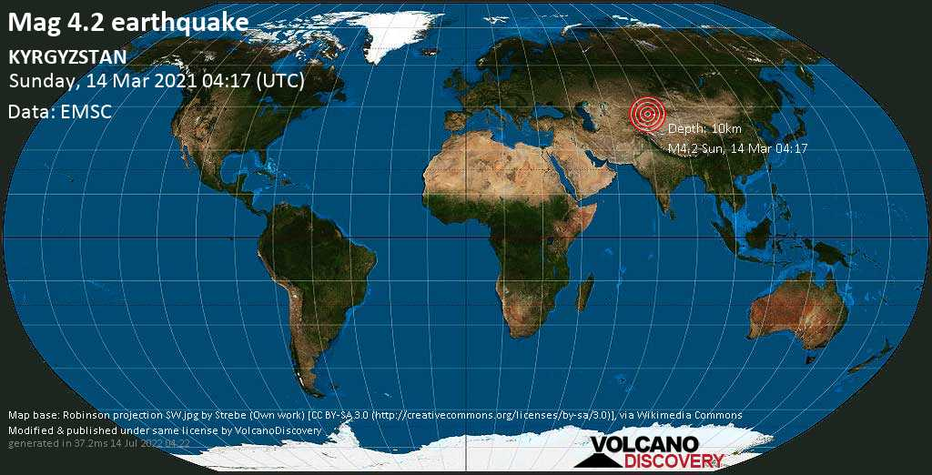 Moderate mag. 4.2 earthquake - 53 km south of Cholpon-Ata, Issyk-Kul, Kyrgyzstan, on Sunday, 14 Mar 2021 10:17 am (GMT +6)