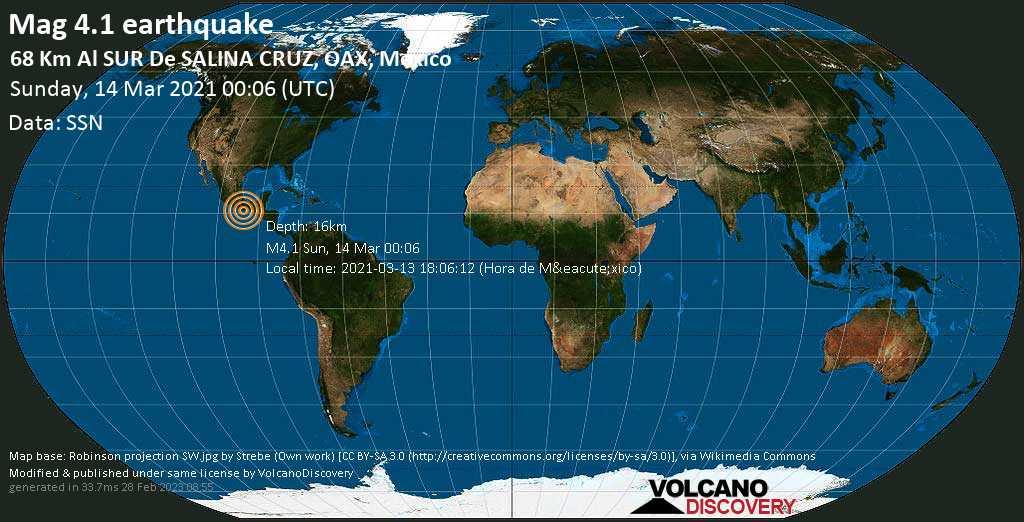 Moderate mag. 4.1 earthquake - North Pacific Ocean, 67 km south of Salina Cruz, Oaxaca, Mexico, on 2021-03-13 18:06:12 (Hora de México)