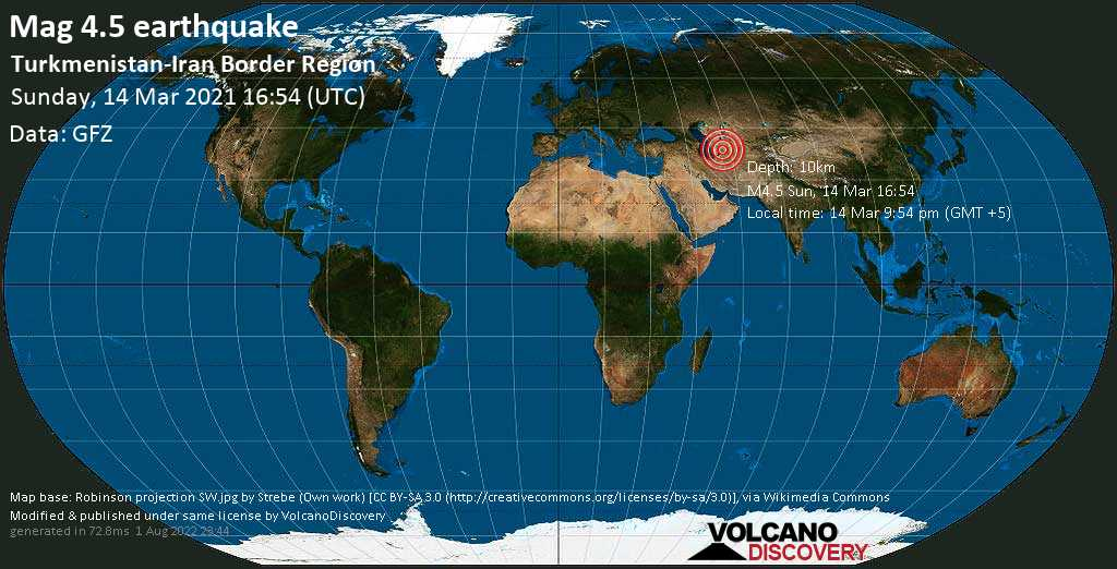 Moderate mag. 4.5 earthquake - 30 km west of Baharly, Bäherden, Ahal, Turkmenistan, on Sunday, 14 Mar 2021 9:54 pm (GMT +5)
