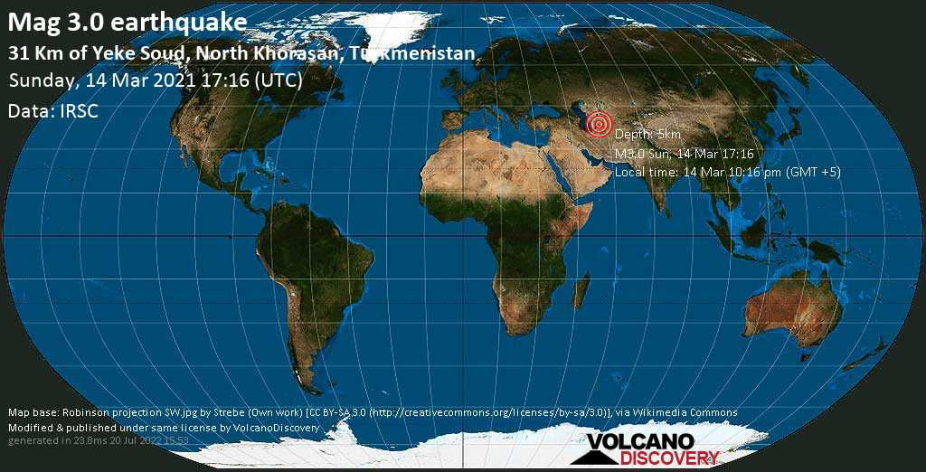 Light mag. 3.0 earthquake - 43 km west of Baharly, Bäherden, Ahal, Turkmenistan, on Sunday, 14 Mar 2021 10:16 pm (GMT +5)
