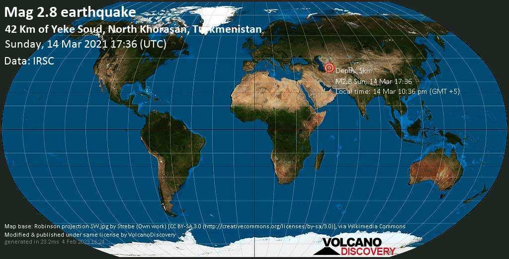 Light mag. 2.8 earthquake - 44 km west of Baharly, Bäherden, Ahal, Turkmenistan, on Sunday, 14 Mar 2021 10:36 pm (GMT +5)