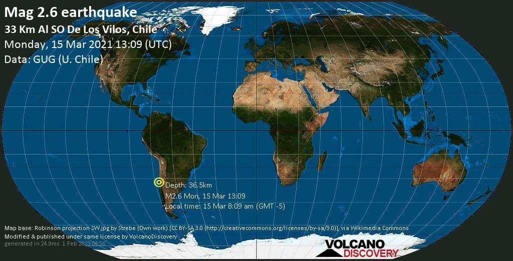 Minor mag. 2.6 earthquake - South Pacific Ocean, 66 km northwest of La Ligua, Petorca Province, Valparaiso, Chile, on Monday, 15 Mar 2021 8:09 am (GMT -5)