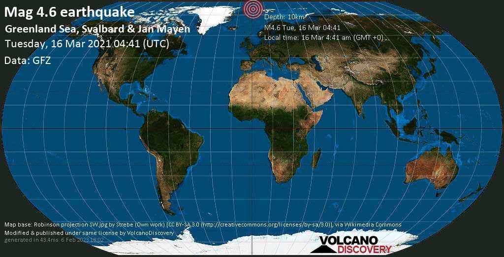 Moderate mag. 4.6 earthquake - Greenland Sea, Svalbard & Jan Mayen, on Tuesday, Mar 16, 2021 4:41 am (GMT +0)