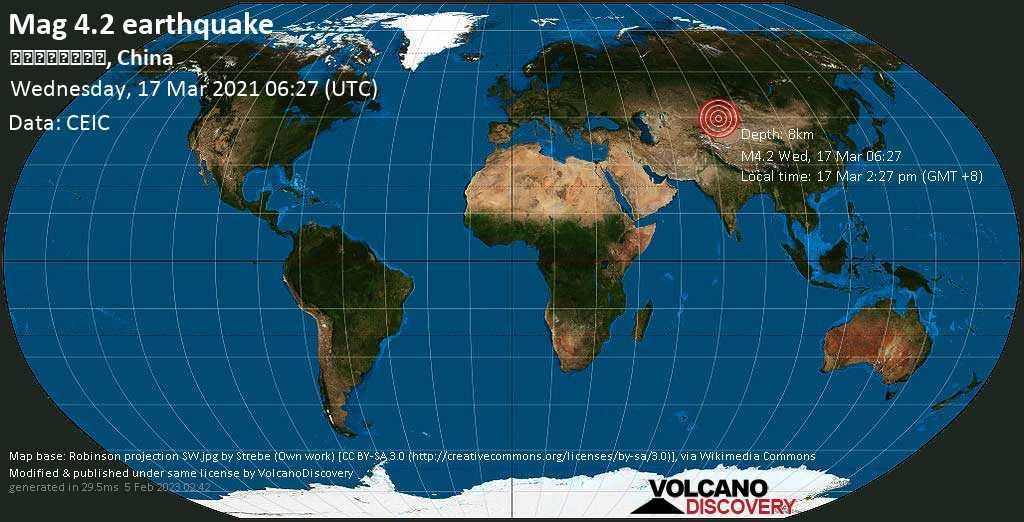Terremoto moderato mag. 4.2 - Kazakistan, 45 km a nord da Huocheng, Ili Kazak Zizhizhou, Xinjiang, Cina, mercoledí, 17 marzo 2021