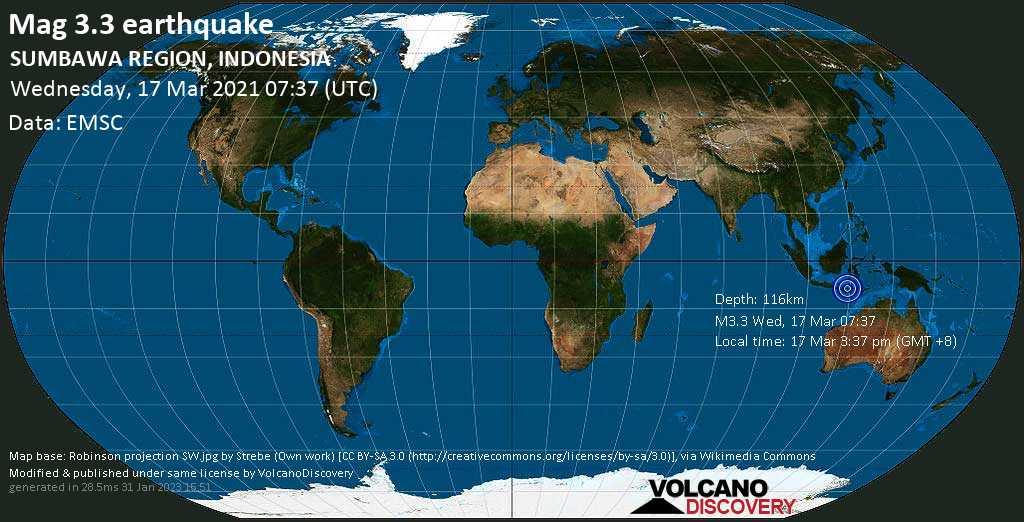 Minor mag. 3.3 earthquake - 10.9 km southwest of Dompu, West Nusa Tenggara, Indonesia, on Wednesday, 17 Mar 2021 3:37 pm (GMT +8)