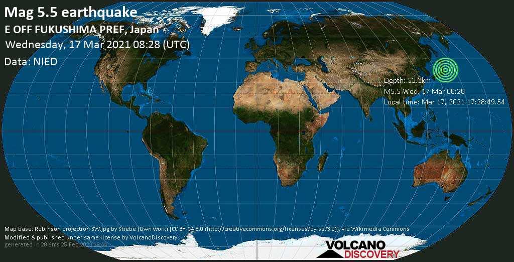 Moderates Erdbeben der Stärke 5.5 - Nordpazifik, 97 km südöstlich von Sendai, Präfektur Miyagi, Japan, am Mittwoch, 17. Mär 2021 um 17:28 Lokalzeit