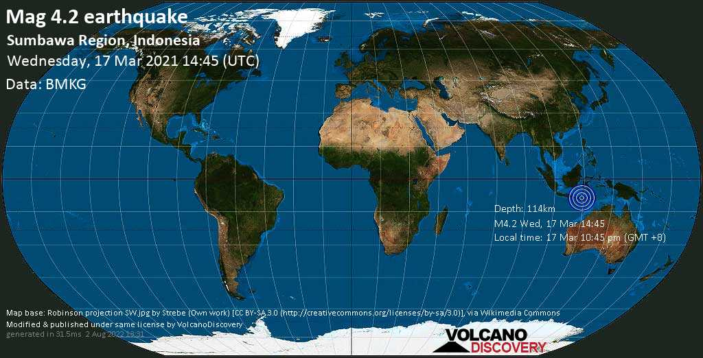 Light mag. 4.2 earthquake - Indian Ocean, 14 km southwest of Dompu, West Nusa Tenggara, Indonesia, on Wednesday, 17 Mar 2021 10:45 pm (GMT +8)
