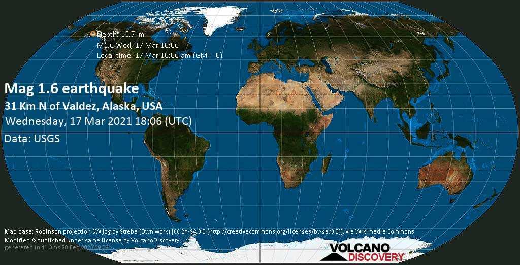 Sehr schwaches Beben Stärke 1.6 - 31 Km N of Valdez, Alaska, USA, am Mittwoch, 17. Mär 2021 um 10:06 Lokalzeit