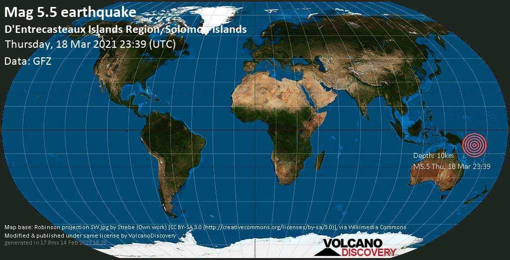 Terremoto forte mag. 5.5 - Solomon Sea, 220 km a sud ovest da Gizo, Isole Salomone, giovedí, 18 marzo 2021