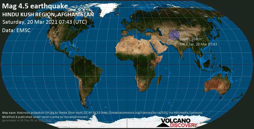 Light mag. 4.5 earthquake - Ishkāshim, 70 km east of Fayzabad, Faīẕābād, Badakhshan, Afghanistan, on Saturday, 20 Mar 2021 12:13 pm (GMT +4:30)