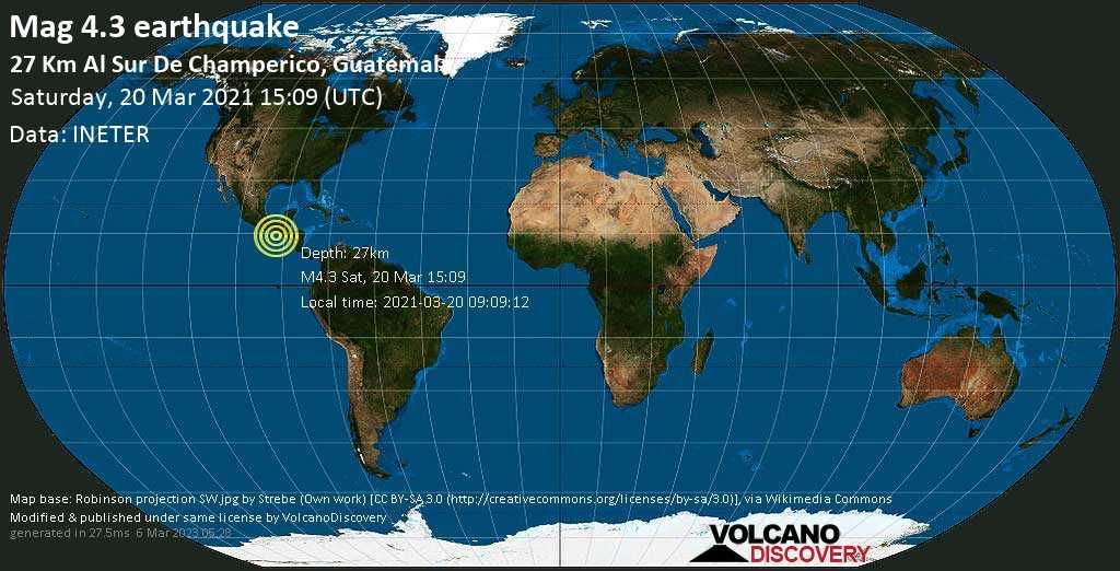 Leichtes Erdbeben der Stärke 4.3 - Nordpazifik, 59 km südwestlich von Retalhuleu, Guatemala, am Samstag, 20. Mär 2021 um 09:09 Lokalzeit