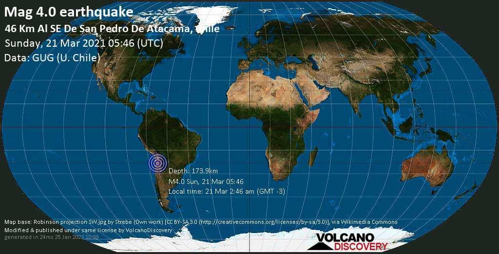 Light mag. 4.0 earthquake - El Loa, 136 km southeast of Calama, Provincia de El Loa, Antofagasta, Chile, on Sunday, 21 Mar 2021 2:46 am (GMT -3)