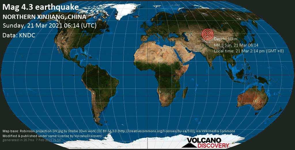 Moderate mag. 4.3 earthquake - 30 km northeast of Qapqal, Ili Kazak Zizhizhou, Xinjiang, China, on Sunday, 21 Mar 2021 2:14 pm (GMT +8)