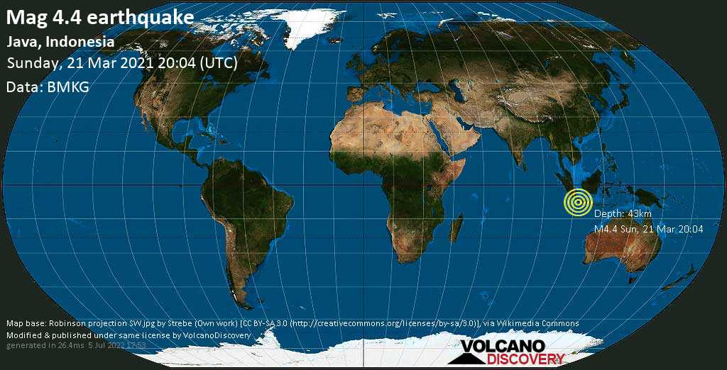 Light mag. 4.4 earthquake - Indian Ocean, 92 km southwest of Sukabumi, West Java, Indonesia, on Monday, 22 Mar 2021 3:04 am (GMT +7)