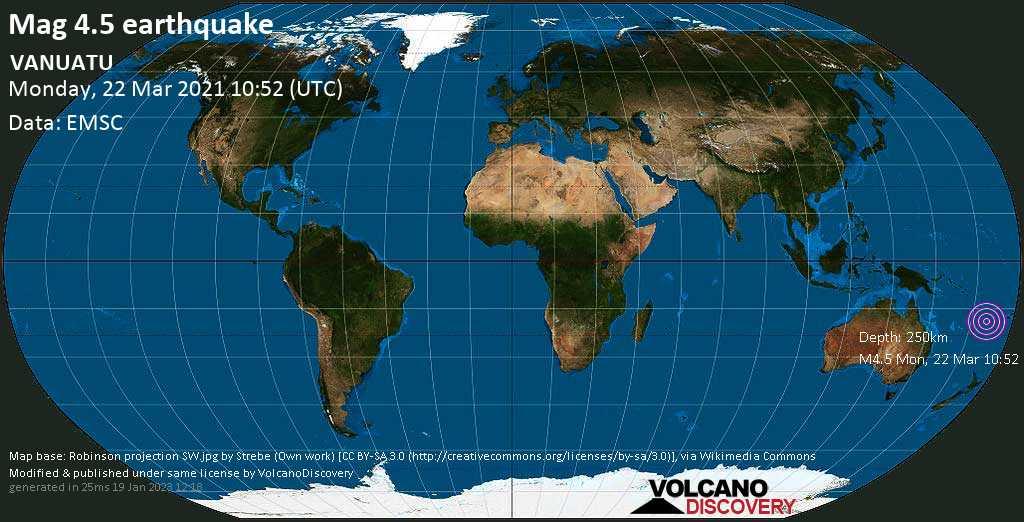 Light mag. 4.5 earthquake - Coral Sea, 63 km north of Tanna Island, Tafea Province, Vanuatu, on Monday, 22 Mar 2021 9:52 pm (GMT +11)