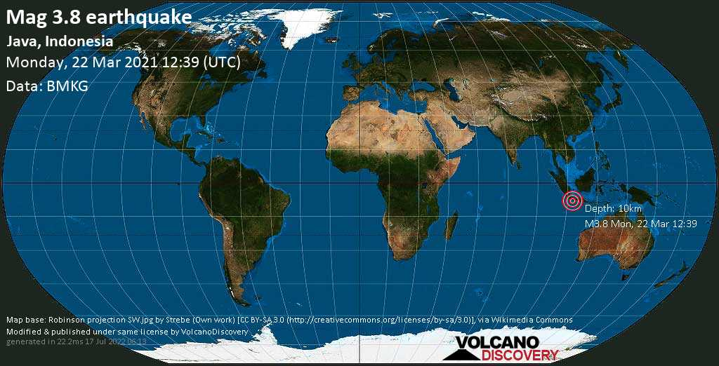 Light mag. 3.8 earthquake - Indian Ocean, 93 km southwest of Banjar, West Java, Indonesia, on Monday, 22 Mar 2021 7:39 pm (GMT +7)