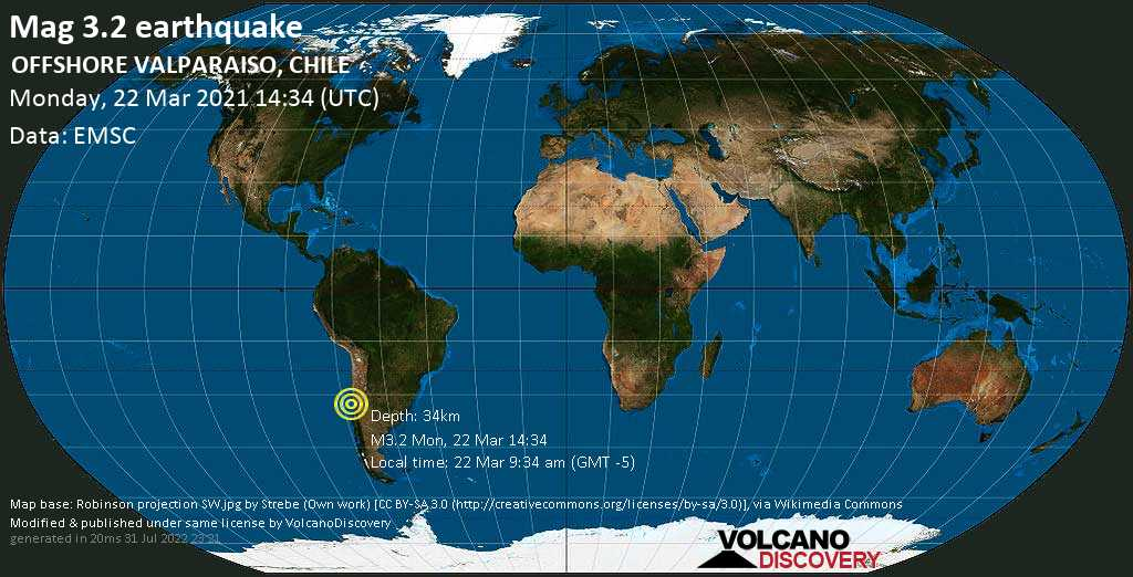 Weak mag. 3.2 earthquake - South Pacific Ocean, 68 km north of Valparaiso, Region de Valparaiso, Chile, on Monday, 22 Mar 2021 9:34 am (GMT -5)