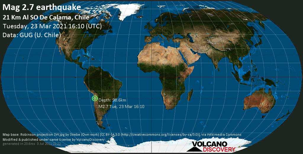Sismo muy débil mag. 2.7 - 22 km SW of Calama, Provincia de El Loa, Antofagasta, Chile, Tuesday, 23 Mar. 2021