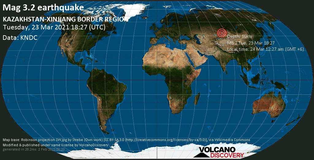 Light mag. 3.2 earthquake - 13 km east of Tūghyl, Tarbagatay District, East Kazakhstan, on Wednesday, 24 Mar 2021 12:27 am (GMT +6)