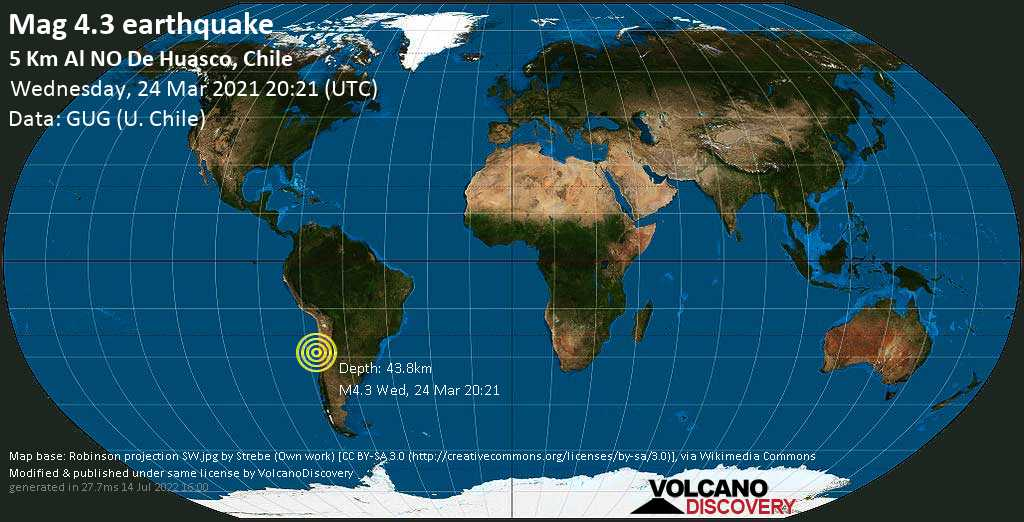 Sismo leggero mag. 4.3 - South Pacific Ocean, 51 km a ovest da Vallenar, Huasco, Atacama, Cile, mercoledì, 24 marzo 2021