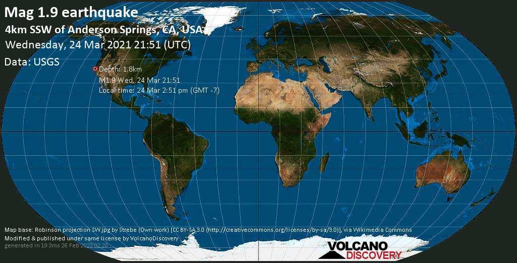 Schwaches Erdbeben Stärke 1.9 - 4km SSW of Anderson Springs, CA, USA, am Mittwoch, 24. Mär 2021 um 14:51 Lokalzeit