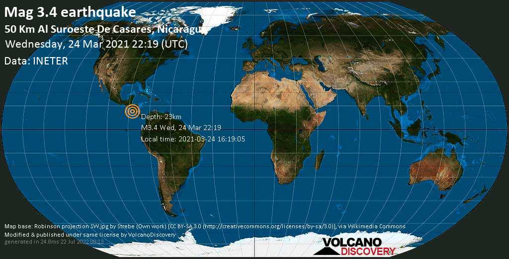 Light mag. 3.4 earthquake - North Pacific Ocean, 97 km southwest of Masaya, Nicaragua, on Wednesday, 24 Mar 2021 4:19 pm (GMT -6)