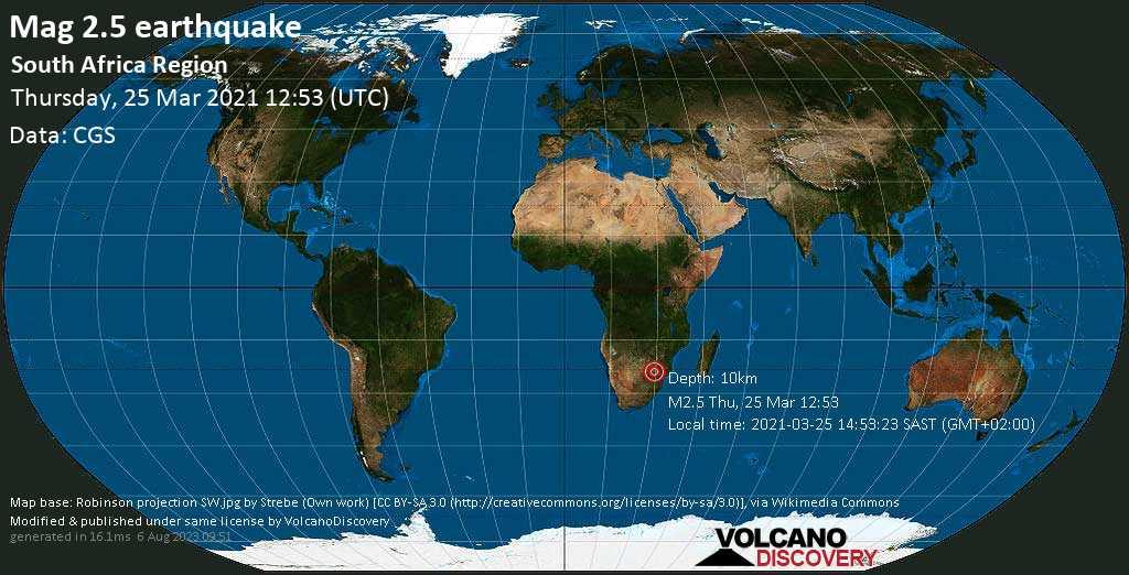 Schwaches Erdbeben Stärke 2.5 - 32 km nördlich von Polokwane, Südafrika, am Donnerstag, 25. Mär 2021 um 14:53 Lokalzeit