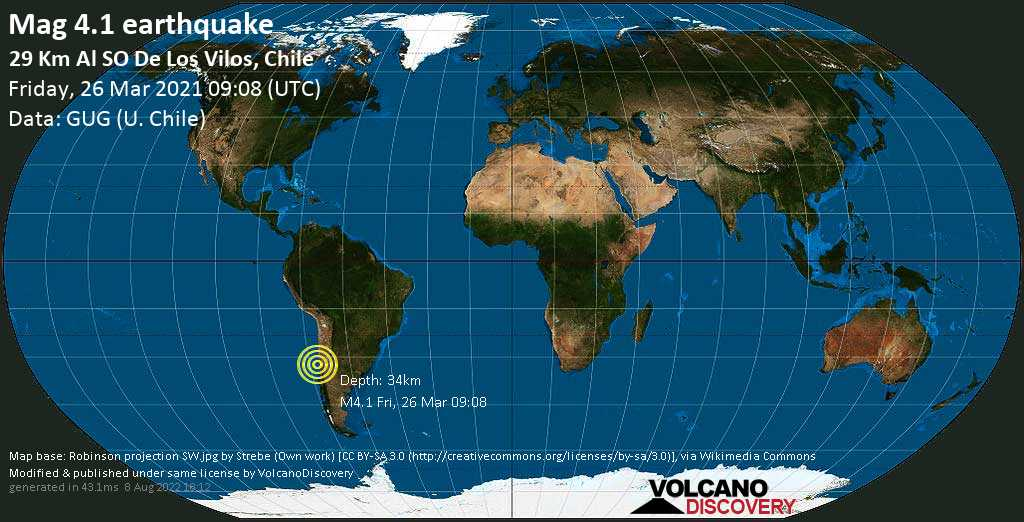 Light mag. 4.1 earthquake - South Pacific Ocean, 55 km northwest of La Ligua, Petorca Province, Valparaiso, Chile, on Friday, 26 Mar 2021 6:08 am (GMT -3)
