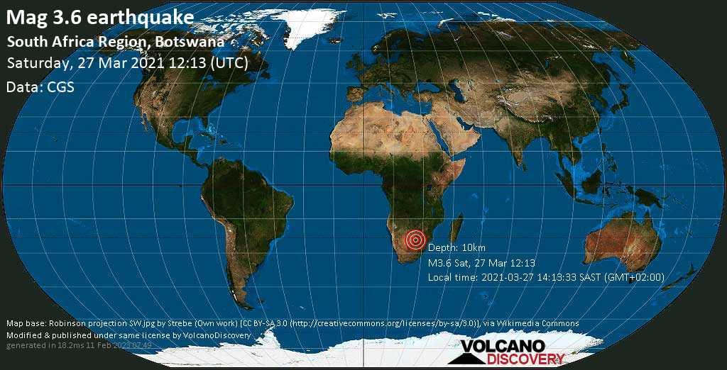 Sismo leggero mag. 3.6 - Kgatleng, 94 km a nord est da Gaborone, Botswana, sábbato, 27 marzo 2021