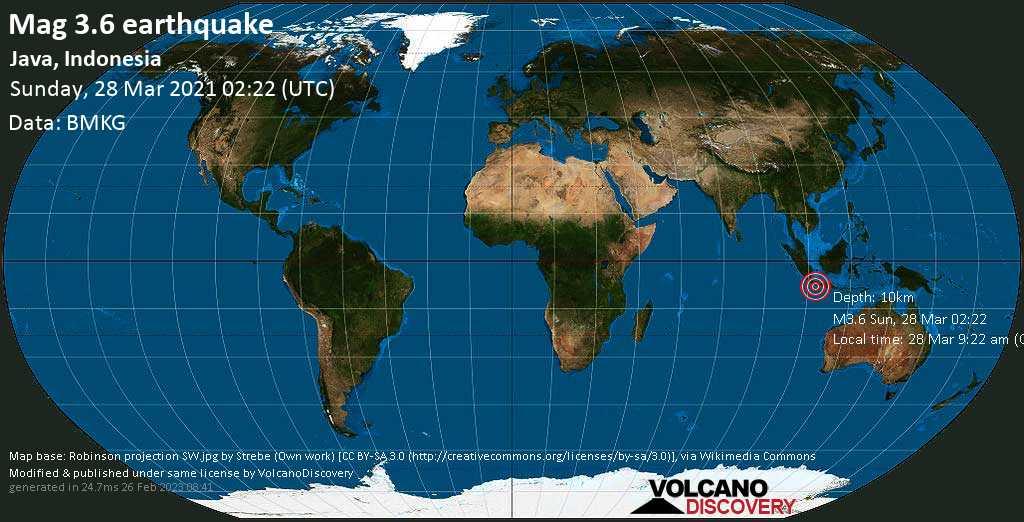 Terremoto leve mag. 3.6 - Indian Ocean, 89 km SSW of Banjar, West Java, Indonesia, Sunday, 28 Mar. 2021