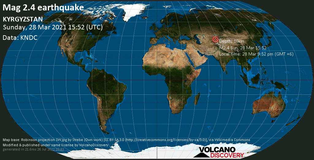 Weak mag. 2.4 earthquake - 22 km north of Jalal-Abad, Kyrgyzstan, on Sunday, 28 Mar 2021 9:52 pm (GMT +6)