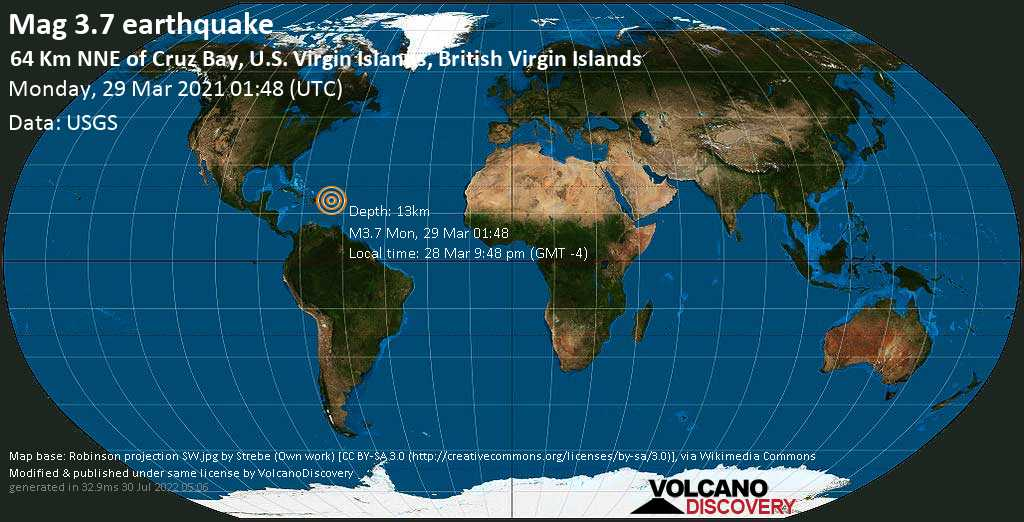 Terremoto leve mag. 3.7 - North Atlantic Ocean, 51 km N of Road Town, British Virgin Islands, Monday, 29 Mar. 2021