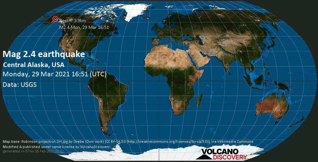 Schwaches Erdbeben Stärke 2.4 - Central Alaska, USA, am Montag, 29. Mär 2021 um 08:51 Lokalzeit