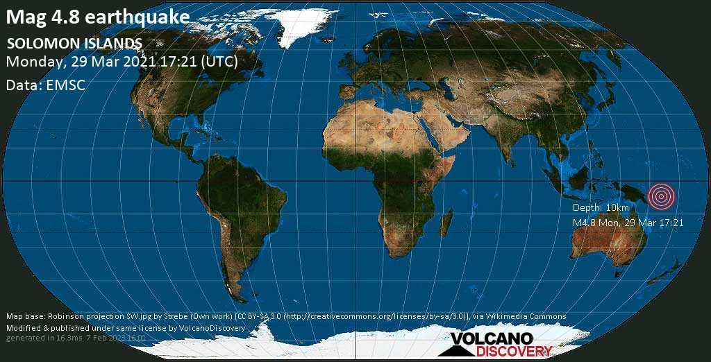 Terremoto moderato mag. 4.8 - Solomon Sea, 91 km a sud ovest da Panguna, North Solomons, Papua Nuova Guinea, lunedí, 29 marzo 2021