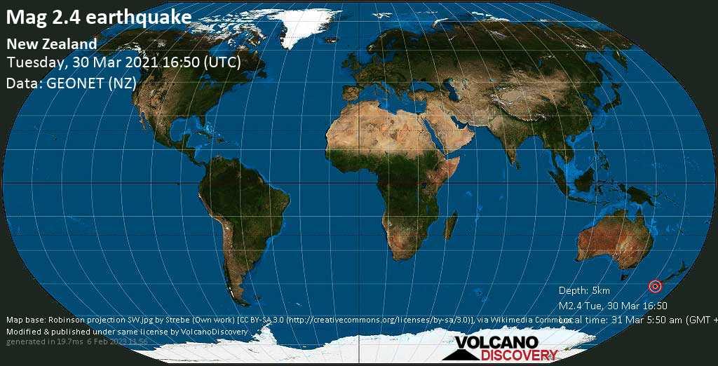 Weak mag. 2.4 earthquake - Tasman Sea, 142 km west of Invercargill, Southland, New Zealand, on Wednesday, 31 Mar 2021 5:50 am (GMT +13)