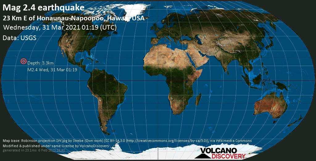 Sismo debile mag. 2.4 - 23 Km E of Honaunau-Napoopoo, Hawaii, USA, mercoledì, 31 marzo 2021