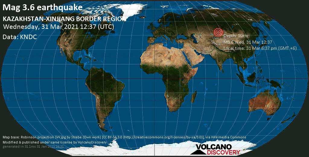 Light mag. 3.6 earthquake - 34 km northeast of Tūghyl, Tarbagatay District, East Kazakhstan, on Wednesday, 31 Mar 2021 6:37 pm (GMT +6)