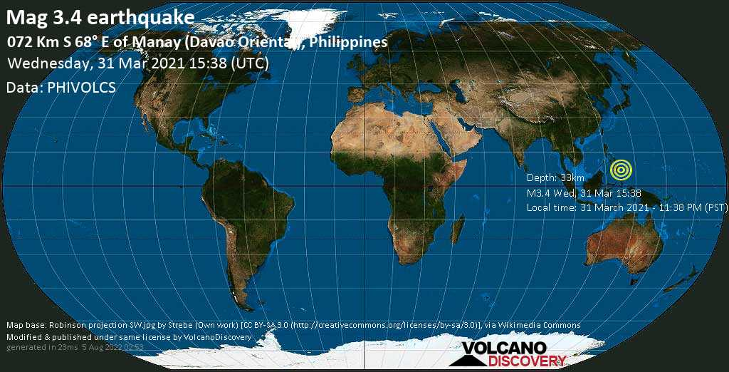 Weak mag. 3.4 earthquake - Philippines Sea, 72 km east of Manay, Province of Davao Oriental, Philippines, on Wednesday, 31 Mar 2021 11:38 pm (GMT +8)