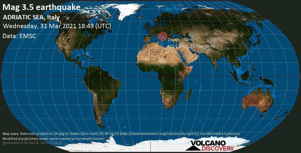 Light mag. 3.5 earthquake - Adriatic Sea, 91 km north of Manfredonia, Provincia di Foggia, Apulia, Italy, on Wednesday, 31 Mar 2021 8:49 pm (GMT +2)