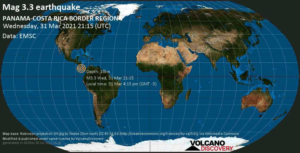 Light mag. 3.3 earthquake - 34 km west of David, Provincia de Chiriqui, Panama, on Wednesday, 31 Mar 2021 4:15 pm (GMT -5)