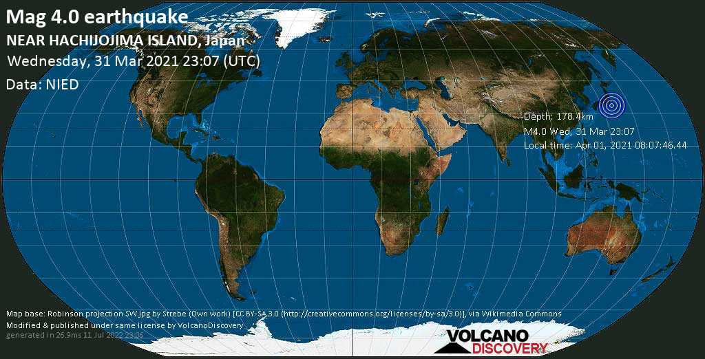 Light mag. 4.0 earthquake - Philippines Sea, 43 km west of Hachijojima Island, Japan, on Thursday, 1 Apr 2021 8:07 am (GMT +9)