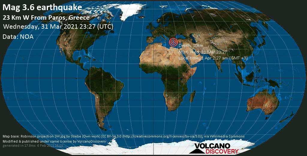 Light mag. 3.6 earthquake - Aegean Sea, 19 km west of Paros, Nomos Kykladon, South Aegean, Greece, on Thursday, 1 Apr 2021 2:27 am (GMT +3)