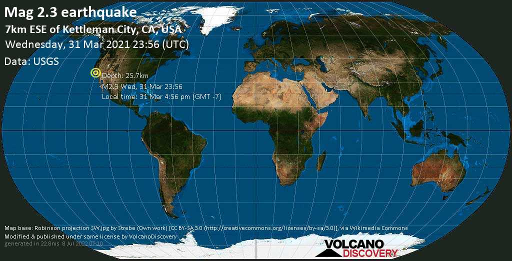 Minor mag. 2.3 earthquake - 7km ESE of Kettleman City, CA, USA, on Wednesday, 31 Mar 2021 4:56 pm (GMT -7)