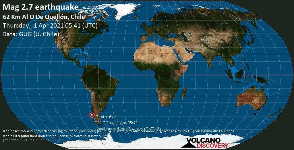 Schwaches Erdbeben Stärke 2.7 - 62 km westlich von Quellon, Provincia de Chiloé, Los Lagos Region, Chile, am Donnerstag,  1. Apr 2021 um 02:41 Lokalzeit