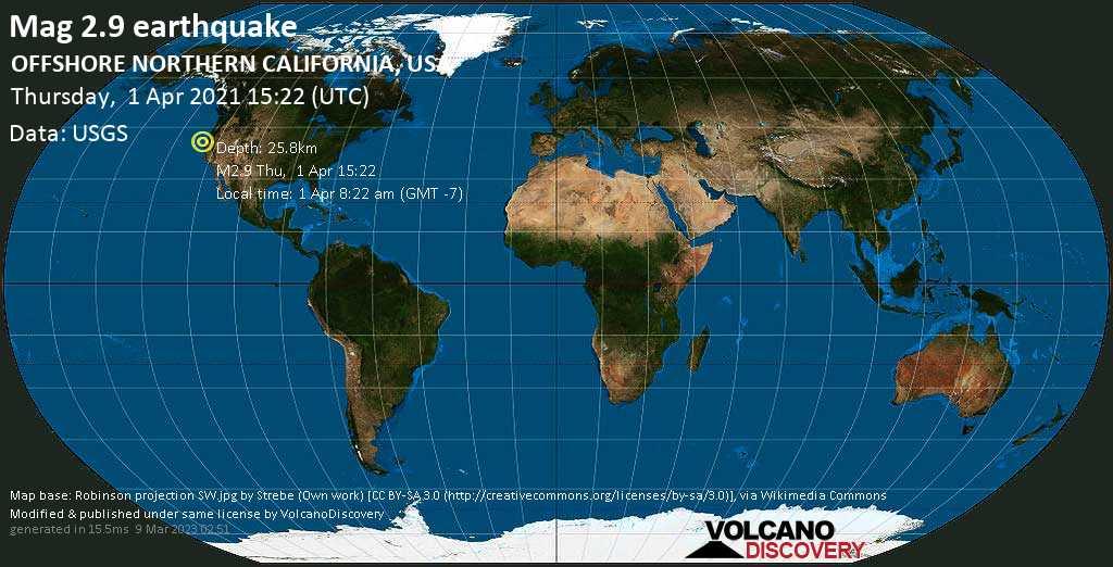 Sismo débil mag. 2.9 - North Pacific Ocean, 33 miles SW of Eureka, Humboldt County, California, USA, Thursday, 01 Apr. 2021