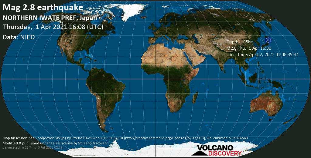 Minor mag. 2.8 earthquake - Shimohei-gun, 22 km northwest of Miyako, Iwate, Japan, on Friday, 2 Apr 2021 1:08 am (GMT +9)