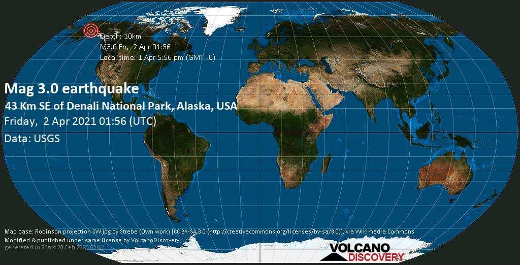 Leichtes Erdbeben der Stärke 3.0 - Denali Parish, 233 km nördlich von Anchorage, Alaska, USA, am Donnerstag,  1. Apr 2021 um 17:56 Lokalzeit