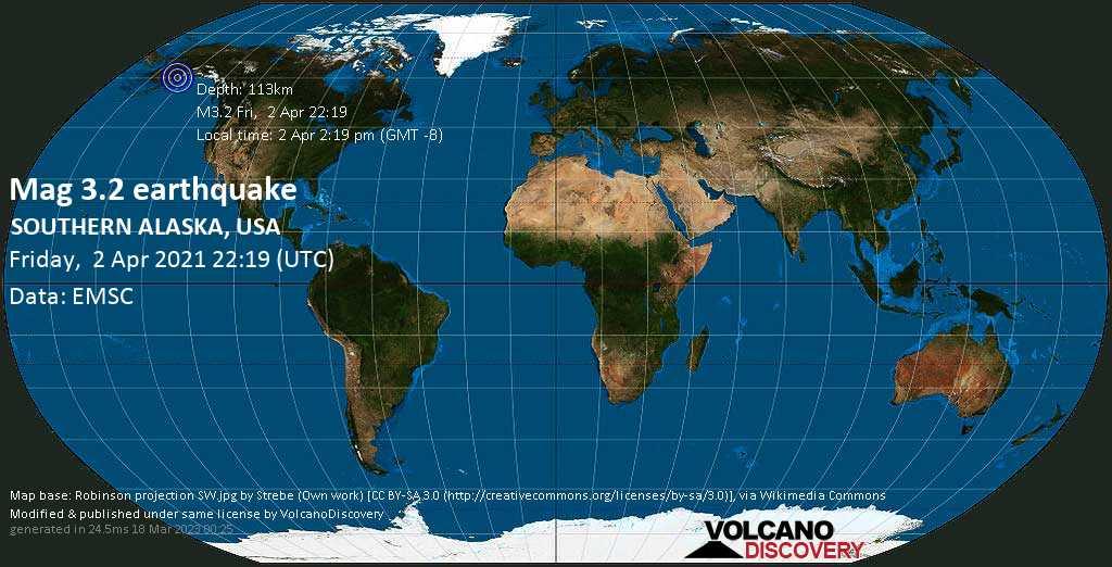 Sehr schwaches Beben Stärke 3.2 - Gulf of Alaska, 84 km westlich von Homer, Kenai Peninsula, Alaska, USA, am Freitag,  2. Apr 2021 um 14:19 Lokalzeit