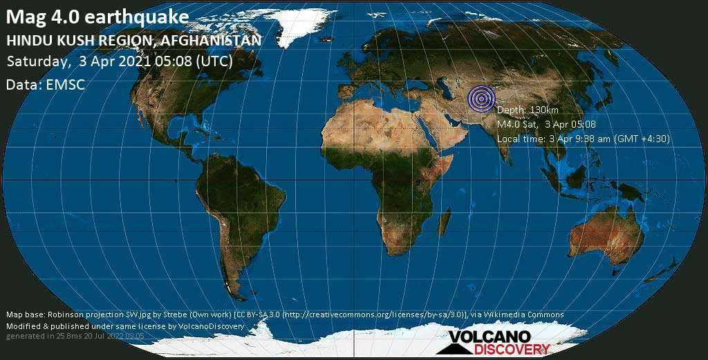 Light mag. 4.0 earthquake - Khan Abad, 48 km southeast of Kunduz, Afghanistan, on Saturday, 3 Apr 2021 9:38 am (GMT +4:30)