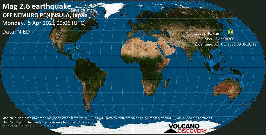 Minor mag. 2.6 earthquake - North Pacific Ocean, 68 km south of Nemuro, Hokkaido, Japan, on Monday, 5 Apr 2021 10:06 am (GMT +10)